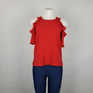 Maette Red Ruffle Drop Sleeve Top Size S
